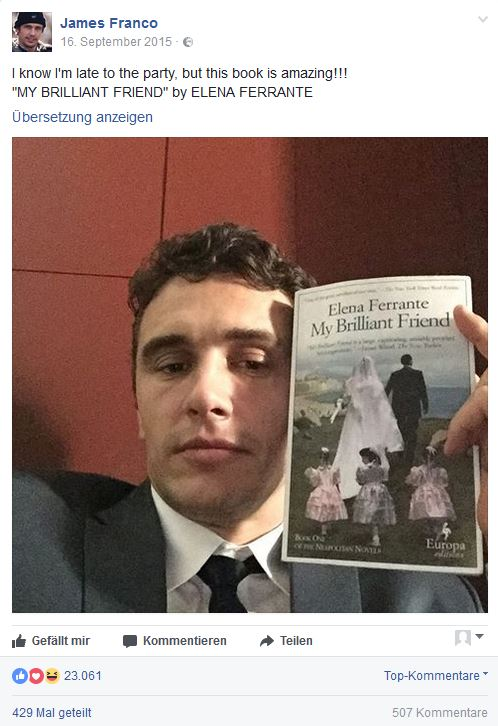 JamesFranco_Facebookpost_ElenaFerrante